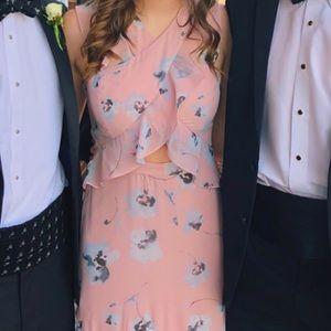 bcbgmaxazria ruffle cross front pink gown